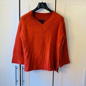 Joan Vass V Neck Sweater - Orange